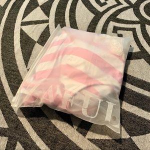 Zaful Swim - Pink and White Striped One Piece